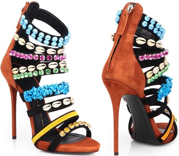 Giuseppe Zanotti Multicolor Strappy Embellished