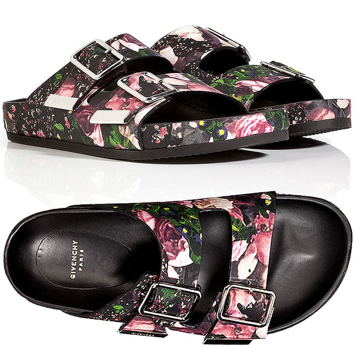 Givenchy Floral-Print Double-Buckled Sandals