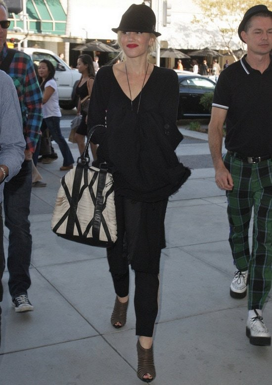 Gwen Stefani and members of her band No Doubt leaving lunch at Porta Via in Beverly Hills