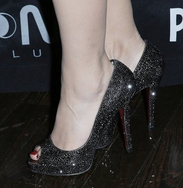 Holly Madison wearing Christian Louboutin 'Very Prive' glitter pumps