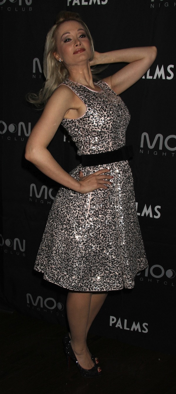 Holly Madison in head-to-toe sparkles for her birthday celebration at Moon Nightclub at the Palms hotel in Las Vegas on December 28, 2013