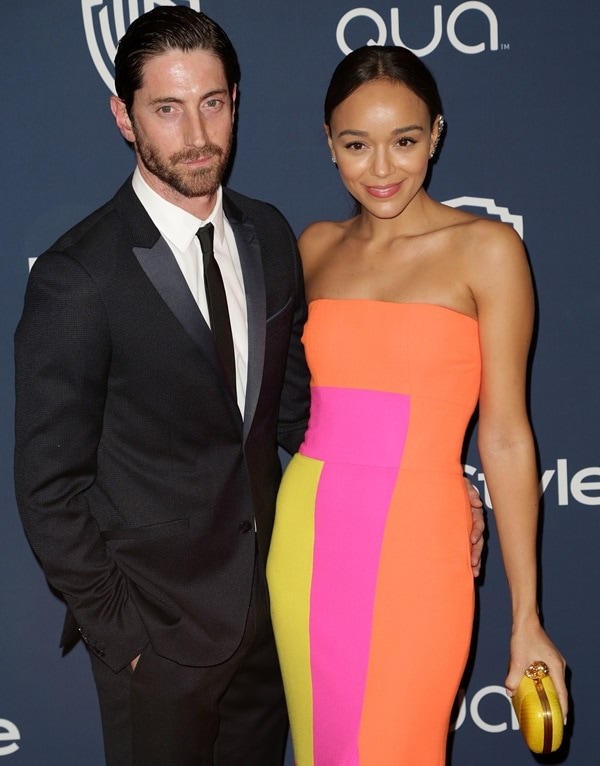 Iddo Goldberg and Ashley Madekwe at the 15th Annual Warner Bros. and InStyle Golden Globe Awards after-party at the Oasis Courtyard at The Beverly Hilton hotel in Los Angeles on January 12, 2014