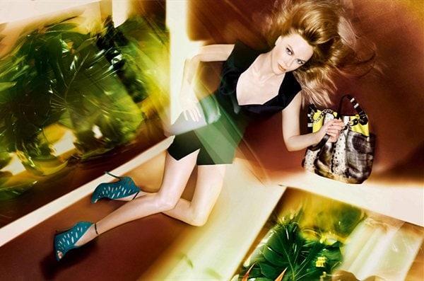 "Nicole Kidman wearing $1,250 Jimmy Choo ""Tamber"" pumps and a £2,450 Jimmy Choo ""Anna"" neon lime/natural karung/watersnake mix shoulder bag"