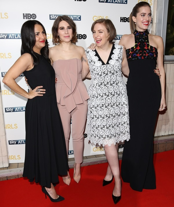 Jenni Konner, Zosia Mamet, Lena Dunham, and Allison Williams at the premiere of the third series of Girls held at the Cineworld Haymarket in London, United Kingdom, on January 15, 2014