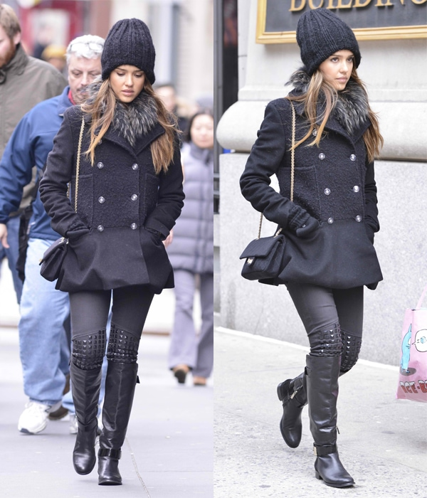 Jessica Alba wore her boots over a pair of studded pants and capped off the look with a cute peplum trench coat