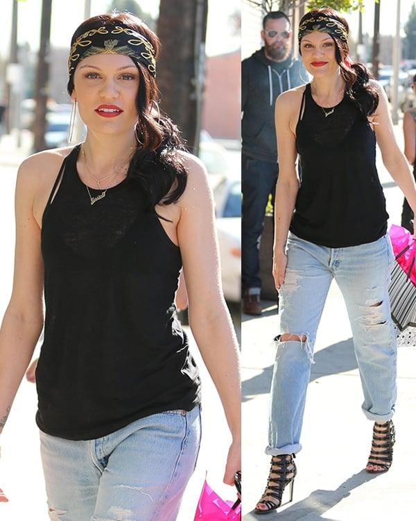 Jessie J arriving at a recording studio