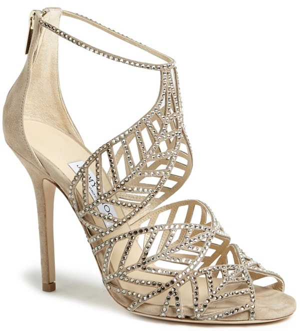 "Jimmy Choo ""Kallai"" Leaf-Detailed Cage Sandals"