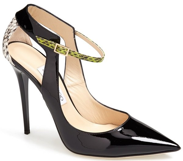 Allison's Italian-made Jimmy Choo pumps feature buckled adjustable straps and genuine snakeskin leather