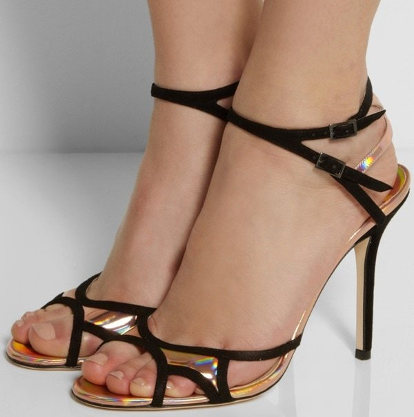 """Jimmy Choo """"Rocks"""" Suede/Holographic Leather Sandals"""