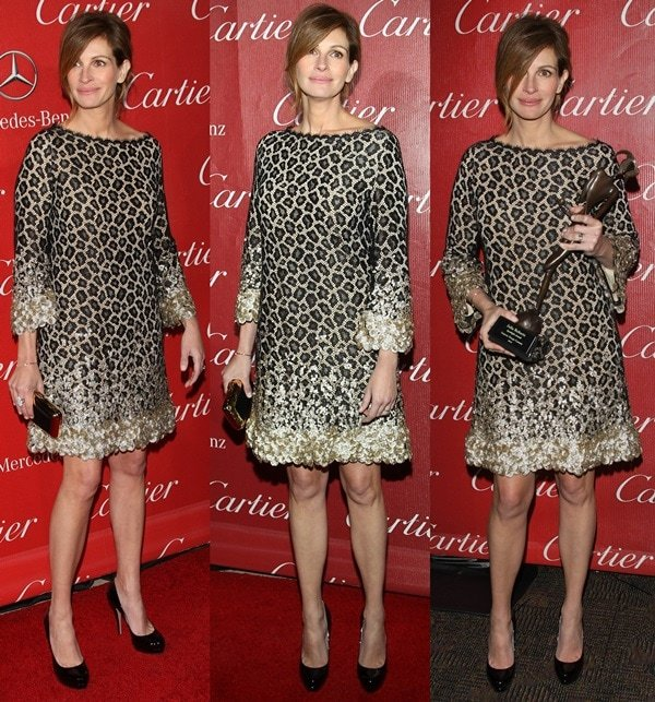 Julia Roberts donned a black lace dress with embellished bell sleeves and hemline from Gucci