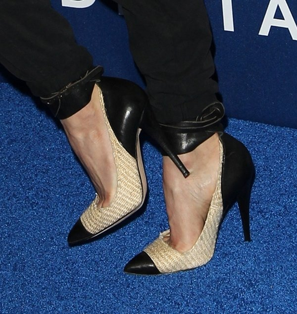 Julianne's Isabel Marant pumps are a mixture of raffia and leather