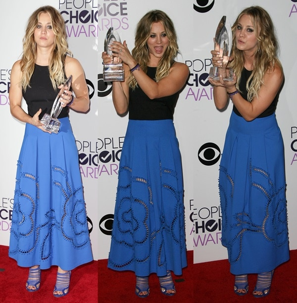 Kaley Cuoco in a two-tone dress by Sachin + Babi and jewelry by Sami Lynn