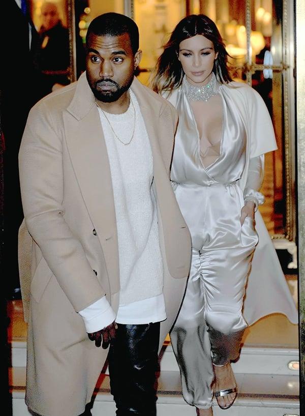 Kanye West and Kim Kardashian dress in matching neutrals in Paris