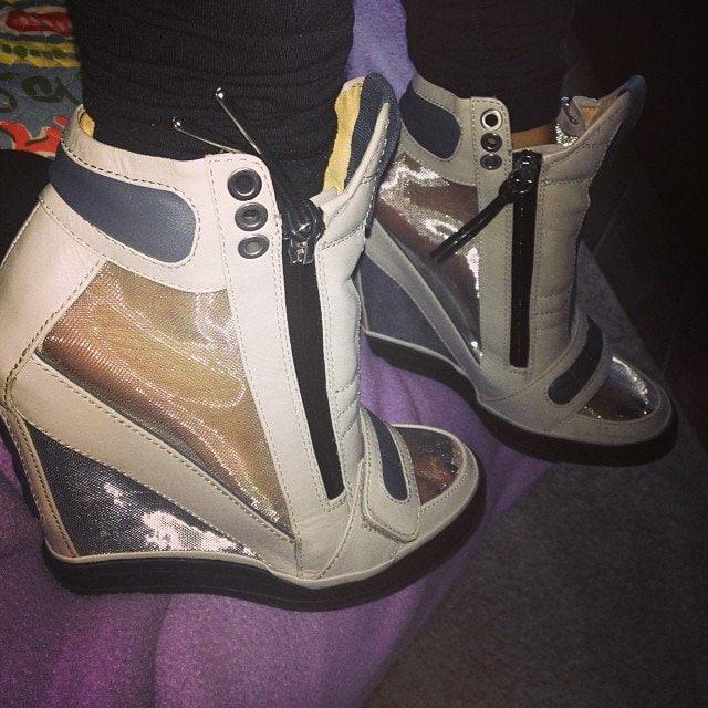 Karrueche Tran's sneaker wedges from L.A.M.B.