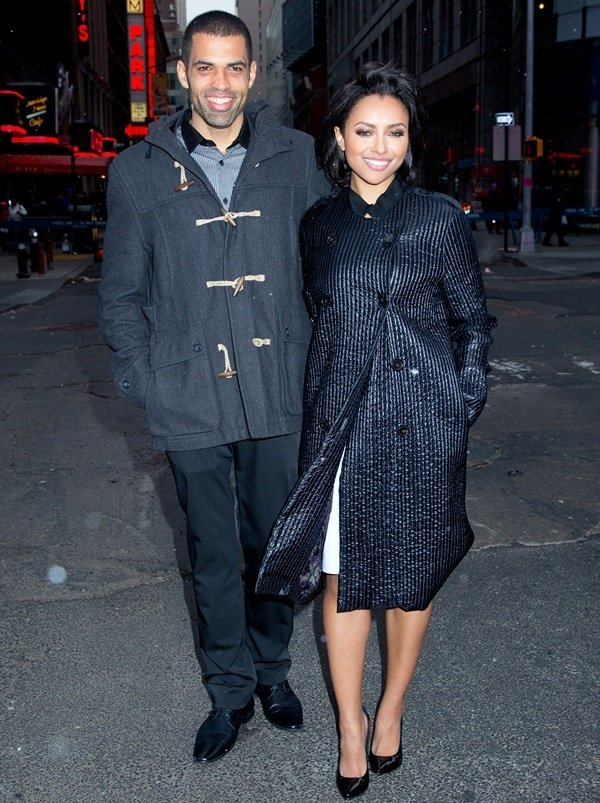 New Year's Eve party hosts Kat Graham and fiancé Cottrell Guidry in New York City on December 31, 2013