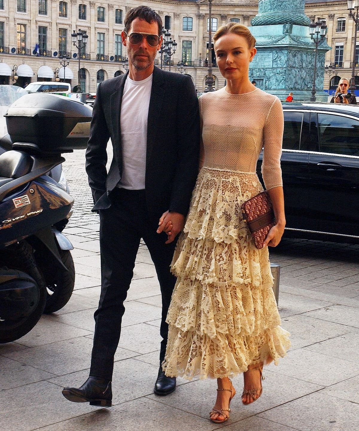 Kate Bosworth and her husband Michael Polish arrive at a Dior dinner at the Place Vendome