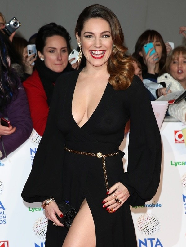 Kelly Brook's plunging black gown by Ossie Clark