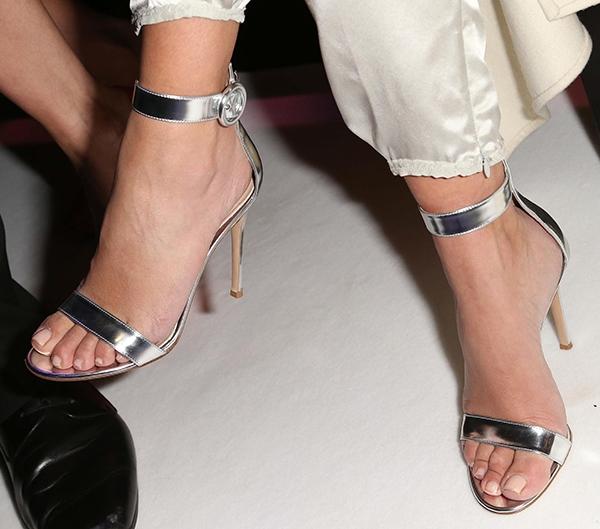 Kim Kardashian's feet in patent leather Gianvito Rossi heels