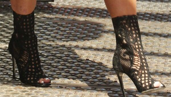 Kim Kardashian rocks black open-toed Balmain booties