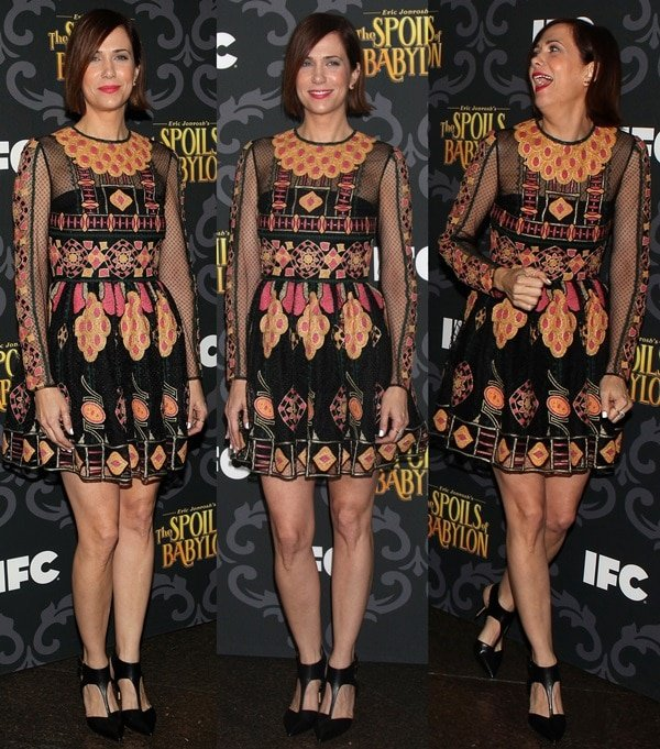 """Kristen Wiig wears an embroidered Valentino dress at a screening of """"The Spoils of Babylon"""""""