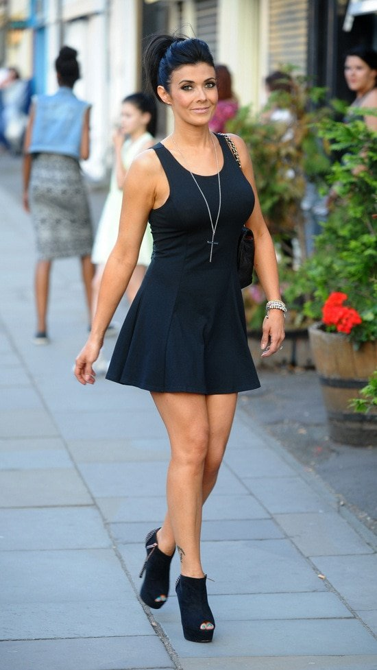 Kym Marsh flaunts her legs at White Lion pub in Manchester