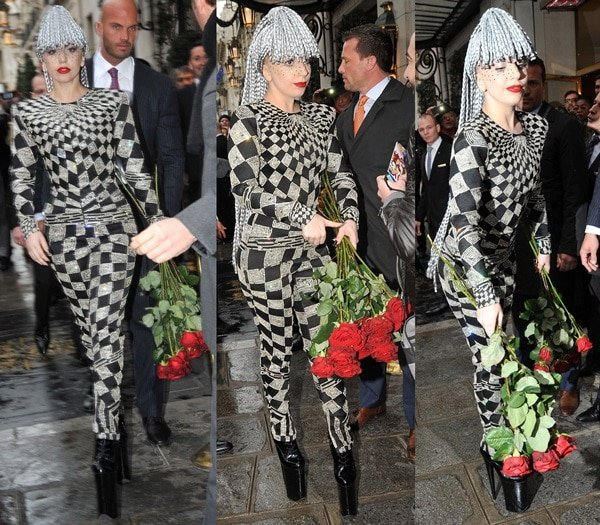 Lady Gaga meets fans outside of her hotel
