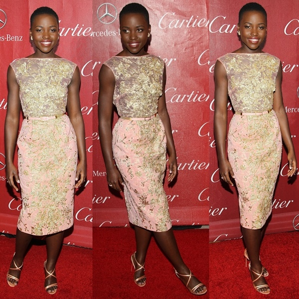 Lupita donned a coral sleeveless dress with gold brocade embellishments from the Elie Saab Fall 2012 couture collection