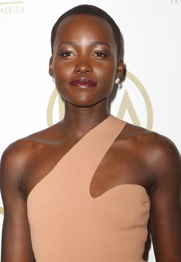 Lupita Nyong'o looked stunning in the mesa rose one-shoulder dress