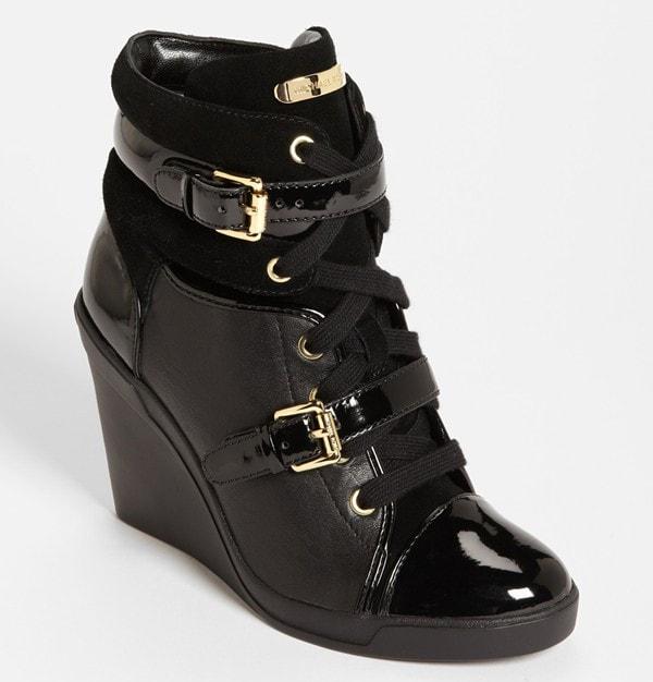 """MICHAEL Michael Kors """"Skid"""" Wedge Sneakers in Black"""