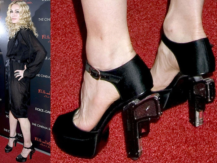 Madonna in Chanel sandals with heels shaped like guns