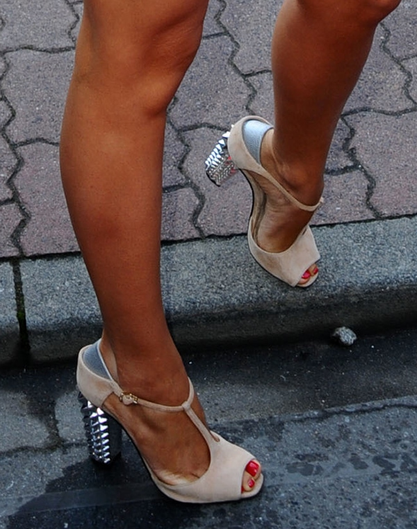 Mandy Capristo wearing Fendi sandals