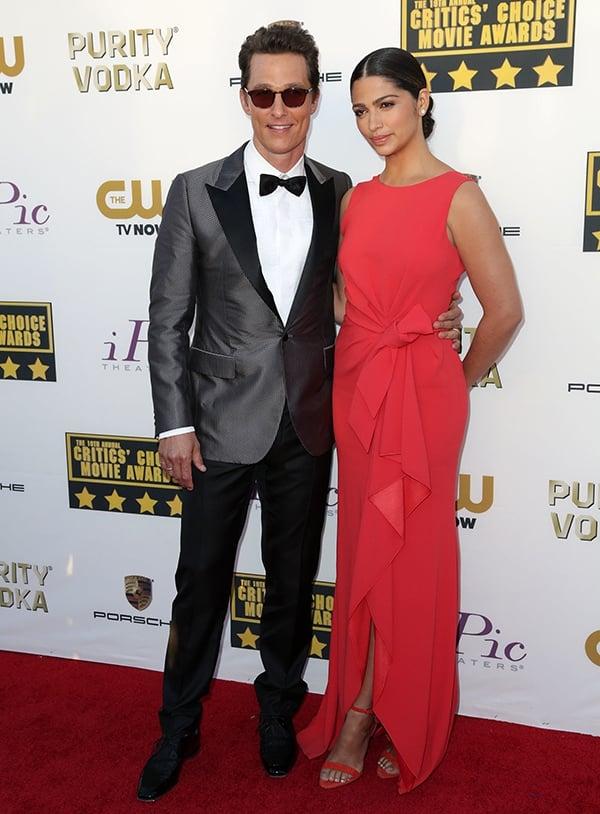 Matthew McConaughey and Camila Alves at the 19th Critics' Choice Movie Awards held at The Barker Hangar in Santa Monica, California, on January 16, 2014