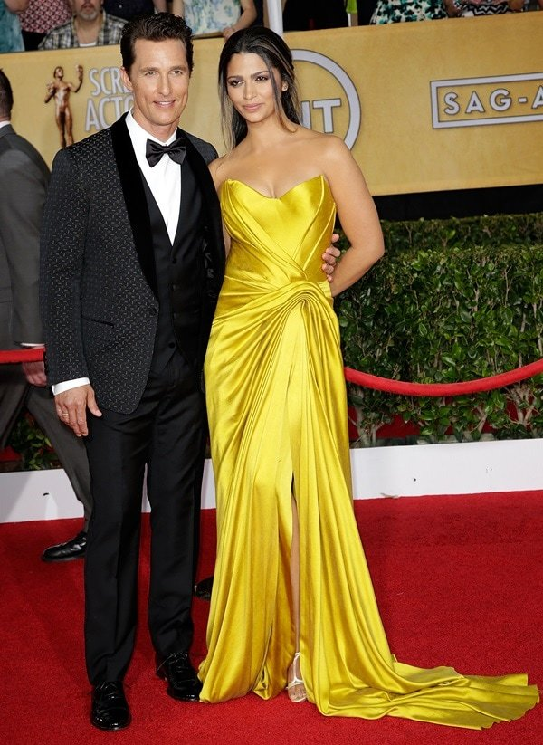 Camila Alves and Matthew McConaughey at the 20th Annual Screen Actors Guild (SAG) Awards held at the Shrine Auditorium in Los Angeles on January 18, 2014