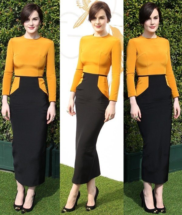 Fashion critics could not stop talking about Michelle Dockery's marigold-and-black dress from the Barbara Casasola Fall 2012 collection
