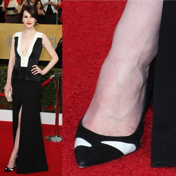 "Michelle Dockery was wearing Gianvito Rossi ""Alina"" textured pumps, which feature black suede with white leather panels"