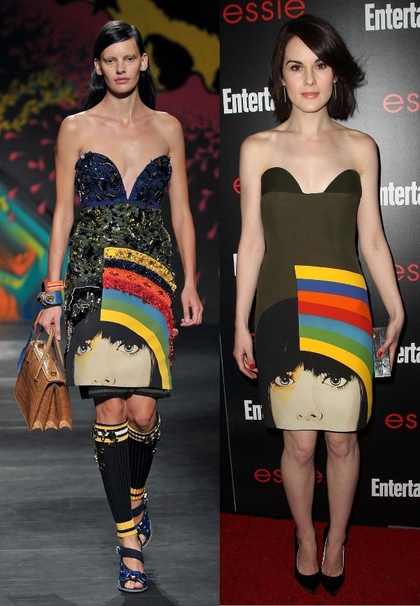 How Michelle Dockery's dress was styled on the Prada SS14 catwalk