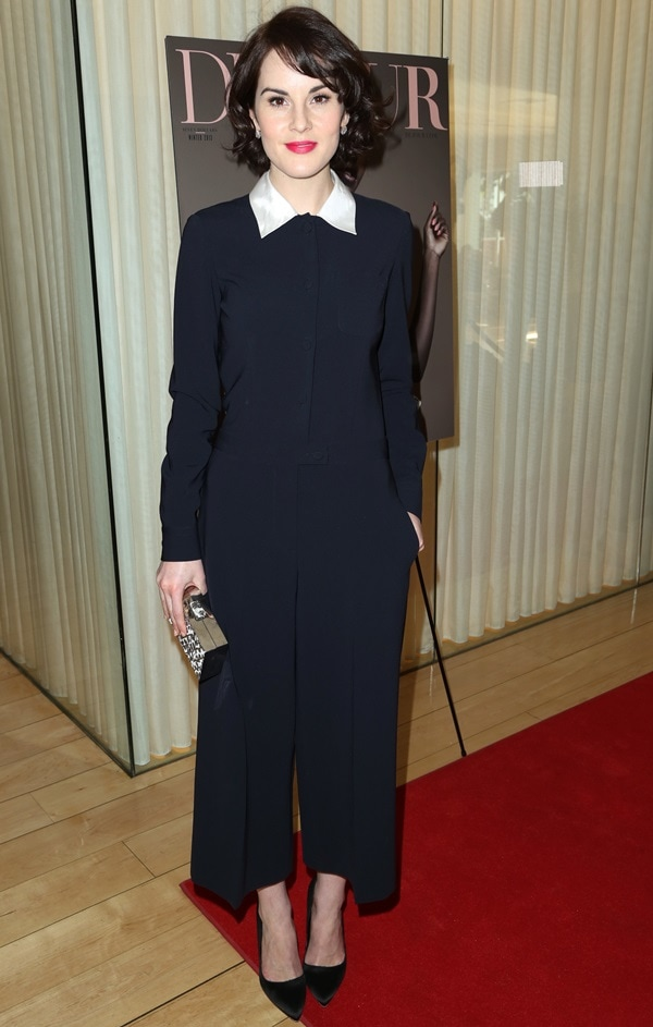 Michelle Dockery showed up for the event in a black jumpsuit with a white Peter Pan collar from Moschino