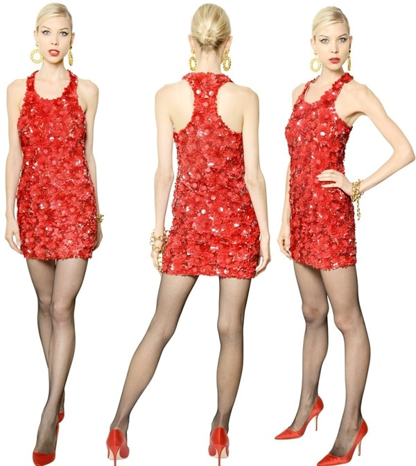 Moschino Sequined Embroidered Tulle Dress