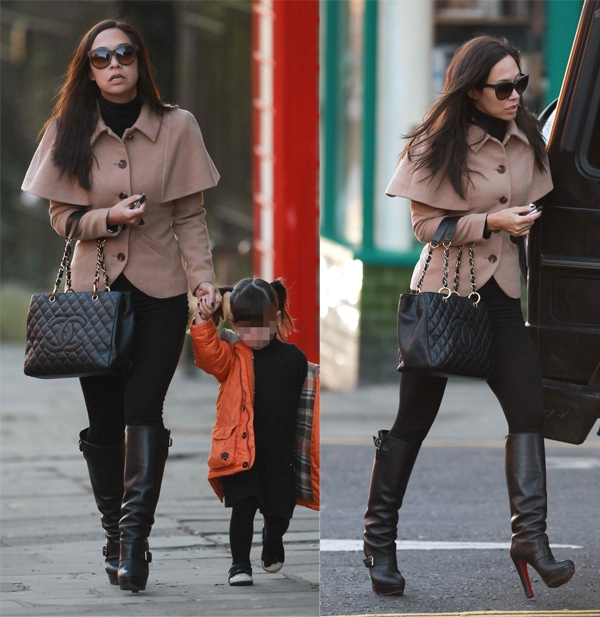 Myleene Klass looking tired while out and about with her daughter, Hero, near her home in Basildon, United Kingdom, on January 10, 2014