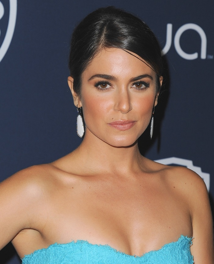 "Nikki Reed wearing Monique Lhuillier's ""Chantilly"" lace strapless gown"