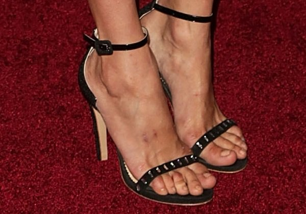 """Nina Dobrev's feet incrystal-embellished ankle-strap """"Simple D"""" sandals by Aperlaï"""