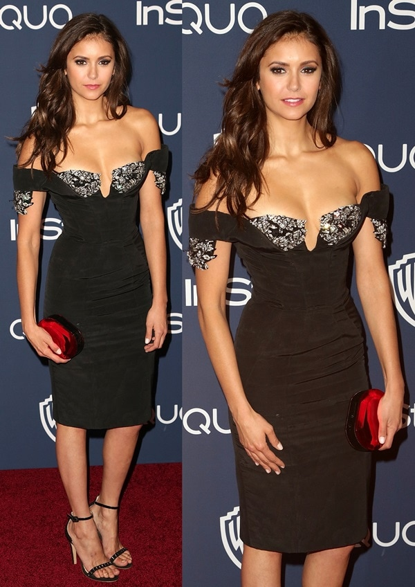 Nina Dobrev inan embellished off-shoulder little black dress by Armani Privé