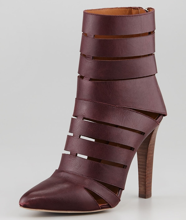 Rebecca Minkoff Debra Cutout Leather Booties Dark Brown