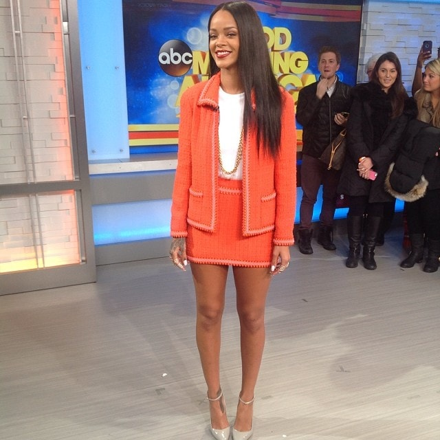 Good Morning America's Instagram snap of Rihanna at their studios in New York City on January 29, 2014