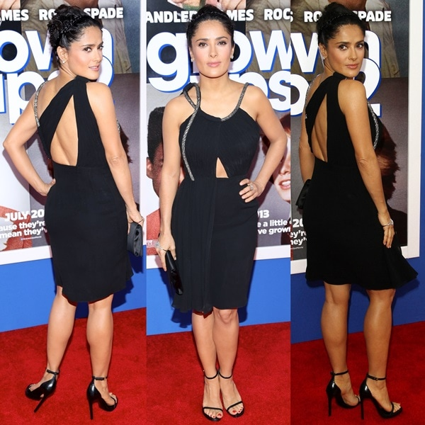 Salma Hayek rocking a Saint Laurent Paris ruched chiffon dress