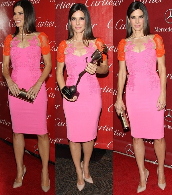 Sandra Bullock donned a two-tone (pink and orange) short-sleeve fitted dress from Australian designer Alex Perry's Resort 2014 collection