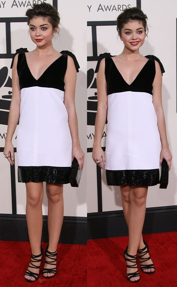 Sarah Hyland styled the sleeveless monochrome dress with an Edie Parker clutch and Neil Lane jewelry
