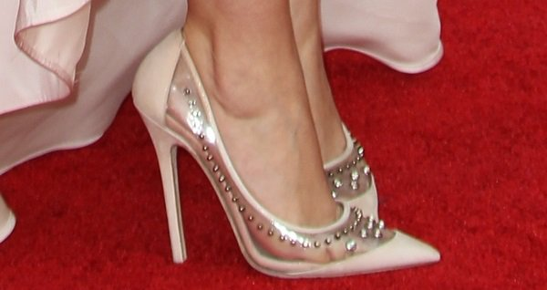 Sarah Hyland's feet in crystal-embellished Jimmy Choo PVC/patent leather pumps