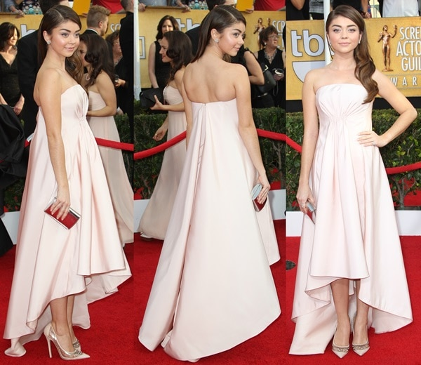 "Sarah Hyland in a blush strapless dress by Pamella Roland styled with a Jimmy Choo mirrored leather ""Carmen"" clutch"