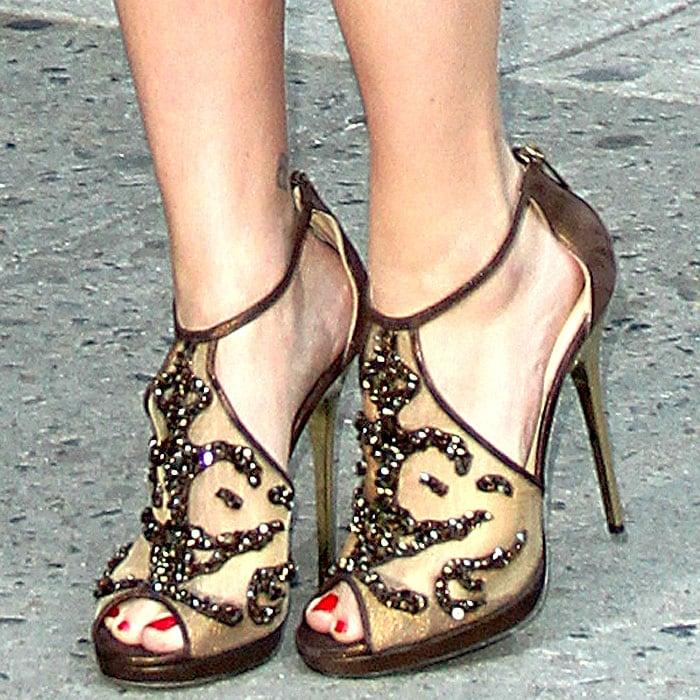 Scarlett Johansson'scrystal-encrusted mesh Fraze sandals